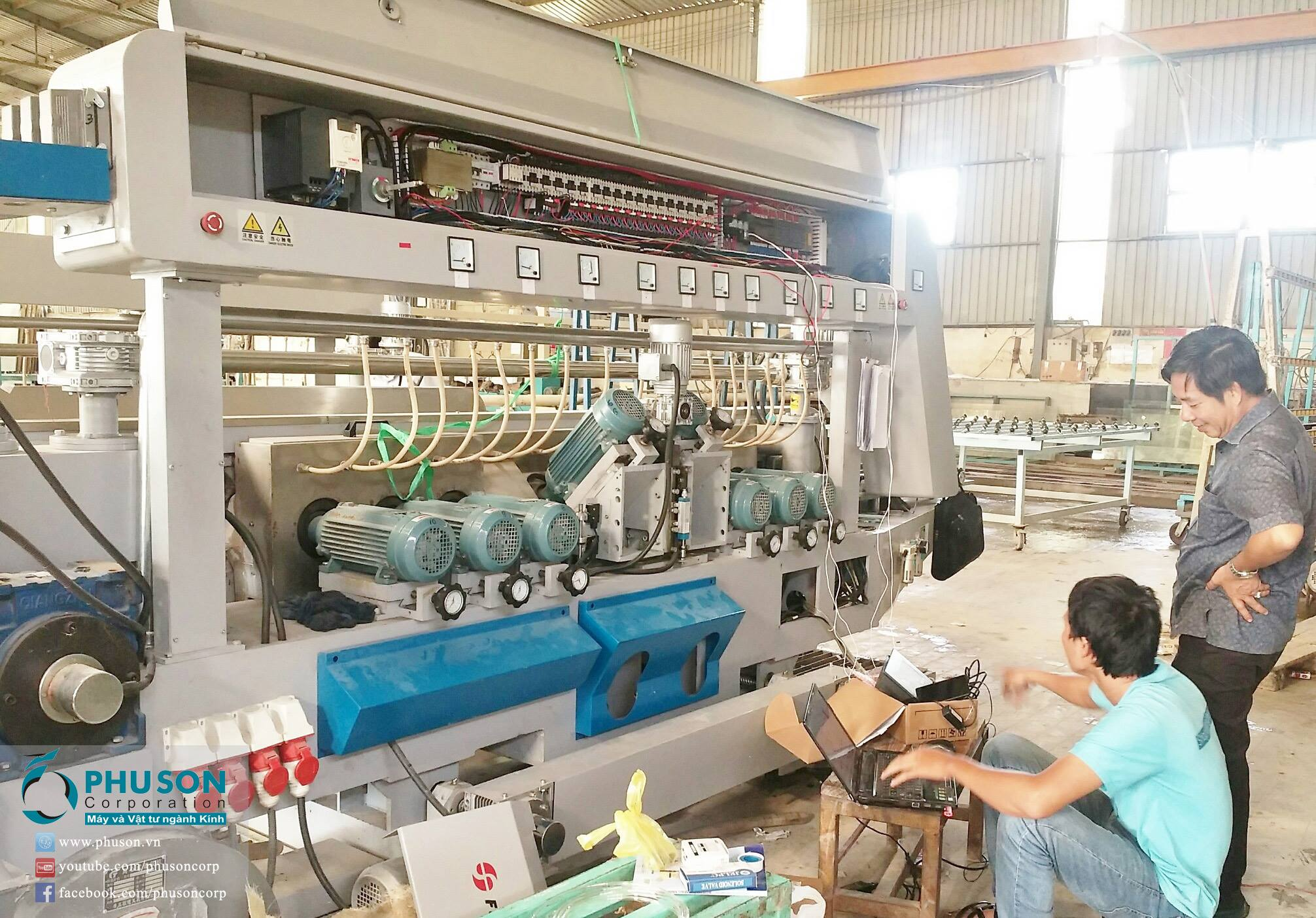 Complete the installation of FUSHAN Double Edging machine at THANH DAT GLASS