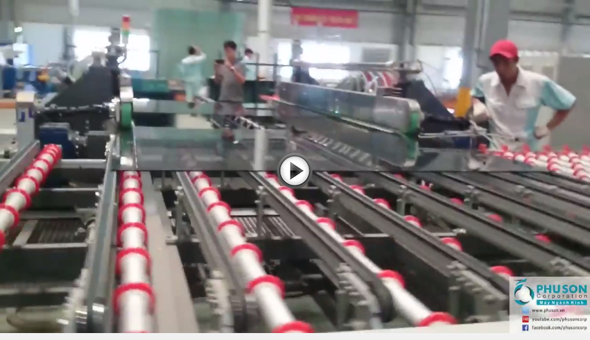 Soft-coat Low.E glass 4 side polish grinding line of HISENG at factory No.2 of EUROWINDOW.