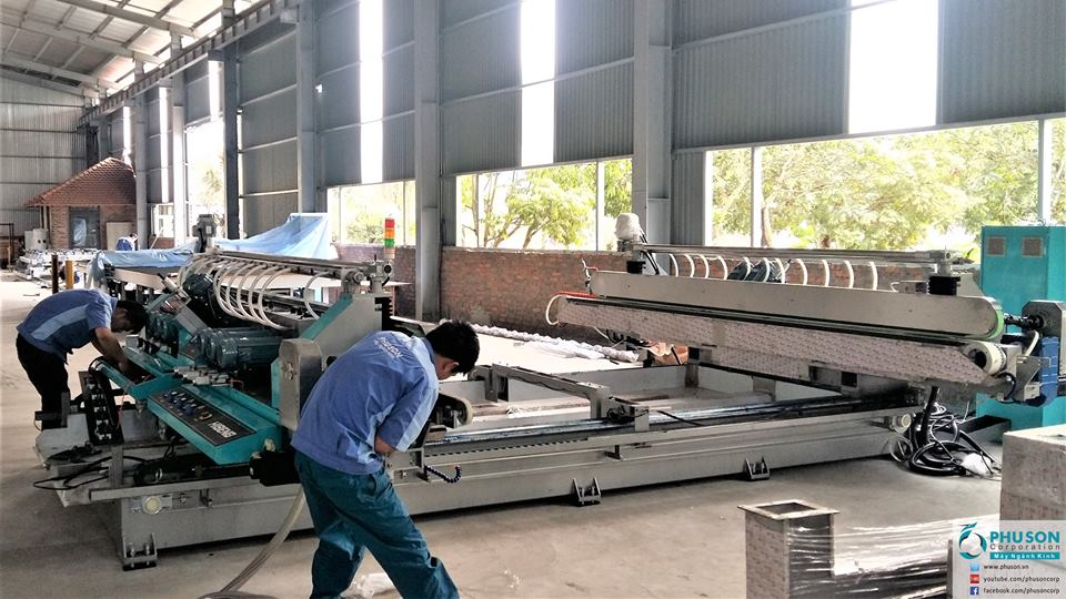Hiseng automatic Glass Double Edging Machine Line at QUANG NINH GLASS.