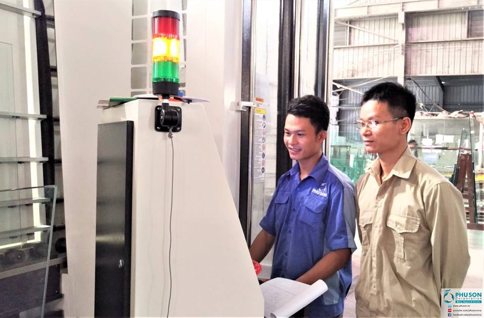 Centering Machine for drilling + milling + grinding at NGOC THUY GLASS