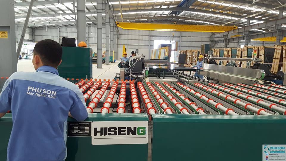 Dây chuyền tự động mài bóng 4 cạnh kính HISENG tại nhà máy EURO A_G.